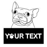 Hand drawn puppy French bulldog with place for text vector. Cartoon Happy French bulldog smile with Space for text. Stock Images