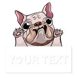 Hand drawn puppy French bulldog with place for text vector. Cartoon Happy French bulldog smile with Space for text. Royalty Free Stock Photo