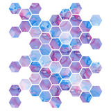 Hand drawn purple background with hexagons Royalty Free Stock Photography