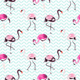 Hand drawn purple flamingo bird blue waves seamless pattern. Hand drawn purple flamingo bird on blue zigzag waves seamless pattern. Tropic birds on white with royalty free illustration