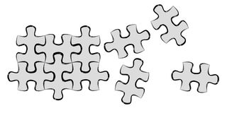 Hand-drawn puzzle pieces game sketch Royalty Free Stock Photography