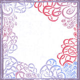 Hand drawn quaint shabby  frame in blue and pink Royalty Free Stock Photography
