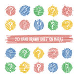 Hand drawn question marks on highlight spots set. Stock Images