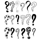 Hand drawn question marks set. Graphic faq, ask. Vector question. Isolated symbol. abstract. Hand drawn set doodle question mark vector illustration