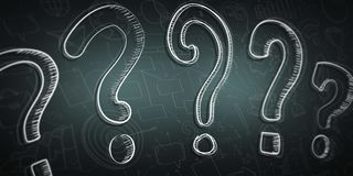 Hand drawn question marks sketch. With depth of field focus Royalty Free Stock Images