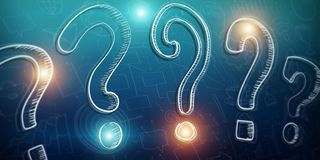 Hand drawn question marks sketch. With depth of field focus Royalty Free Stock Photography