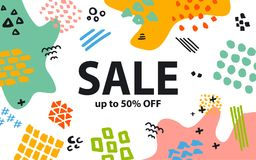 Hand drawn quirky marker pen strokes  and geometric shapes doodles textures colorful sale banner. Background Royalty Free Stock Photo