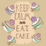 Hand drawn quote - Keep calm and eat cake. Stock Photography