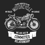 Hand drawn quote about motorcycles and bikers Stock Photography
