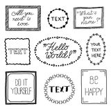 Hand drawn quote vintage vector frames. Stock Images