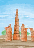Hand Drawn Qutub Minar, New Delhi, India - Vector Stock Photo