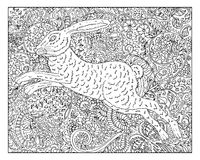 Hand drawn rabbit against floral pattern background Royalty Free Stock Photography