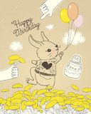 Hand drawn rabbit with colorful balloons on floral meadow. Can be used for baby shower celebration greeting card, happy vector illustration