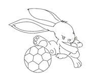 Hand drawn rabbit playing football Stock Photography