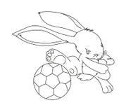Hand drawn rabbit playing football Stock Photography