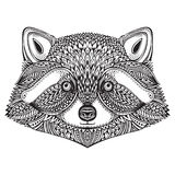 Hand drawn raccoon face in doodle ornate style. Royalty Free Stock Images