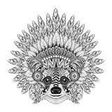 Hand Drawn Raccoon in Feathered War bonnet in zentangle style, h Royalty Free Stock Photo