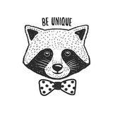 Hand drawn raccoon print. Be unique quote. Vector vintage illustration. Royalty Free Stock Photography