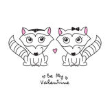 Hand drawn raccoons. Vector hand drawn raccoons couple, greeting card for valentines day Stock Photo