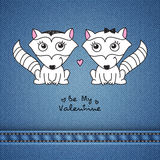 Hand drawn raccoons. Vector hand drawn raccoons couple, greeting card for valentines day Stock Images