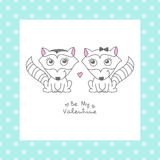 Hand drawn raccoons. Vector hand drawn raccoons couple, greeting card for valentines day Stock Photography