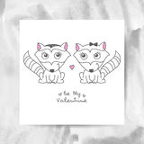 Hand drawn raccoons. Vector hand drawn raccoons couple, greeting card for valentines day Royalty Free Stock Photography