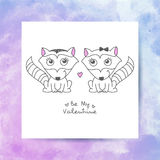 Hand drawn raccoons. Vector hand drawn raccoons couple, greeting card for valentines day Royalty Free Stock Images