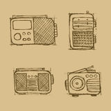 Hand drawn radio set on the brown background. Stock Images