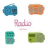 Hand drawn radio set on the white background. Stock Photography