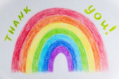 The hand drawn rainbow poster. Thank you NHS Staff for your service in face of worldwide coronavirus crisis concept