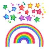 Hand Drawn Rainbow and stars Doodle set. Stock Photo