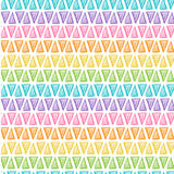 Hand drawn rainbow triangles on white background. Rainbow triangles vector Seamless Pattern. Hand drawn geometric background Stock Photos