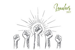 Hand drawn raised hands with clenched fists Royalty Free Stock Photo