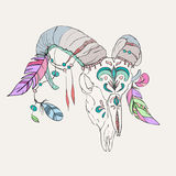 Hand drawn ram skull with colorful feathers. Bohemian design Royalty Free Stock Images