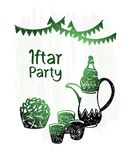 Hand drawn ramadan kareem, iftar party, green shine stock image