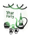 Hand drawn ramadan kareem, iftar party, green shine Royalty Free Stock Image