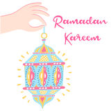 Hand drawn Ramadan lantern background. Vector Illustration Stock Images