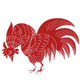 Hand drawn raster illustration of red rooster. Isolated in white. 2017 is the year of Red Fire Chicken on Chinese zodiac. Can use them for greeting card Royalty Free Stock Images