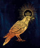 Hand drawn raven bird with crown illustration. Royalty Free Stock Photo