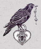 Hand drawn raven bird with heart shaped padlock. Stock Photo