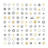 Hand drawn rays design elements. Collection of sunburst vintage Stock Photos