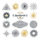 Hand drawn rays and starburst design elements Stock Photo
