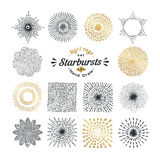 Hand drawn rays and starburst design elements Royalty Free Stock Image