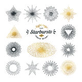 Hand drawn rays and starburst design elements Royalty Free Stock Photos