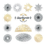 Hand drawn rays and starburst design elements Stock Photography