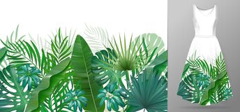 Hand drawn realistic branches and leaves of tropical plants. Vivid line horizontal leaves pattern. Green seamless border. On dress mockup royalty free illustration