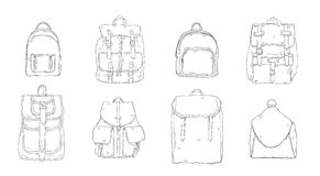 Hand drawn realistic contour backpack set. different trendy rucksac collection. Hand drawn realistic contour backpack set, different trendy rucksac collection Stock Photo