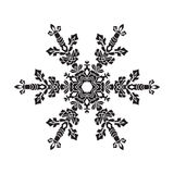 Hand-drawn realistic silhouette snowflake. Black on white background. Easy  Stock Photography