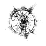 Hand drawn realistic sound lion character. Stock Image