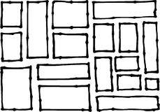 Hand-drawn rectangle and square shapes over white Royalty Free Stock Photos
